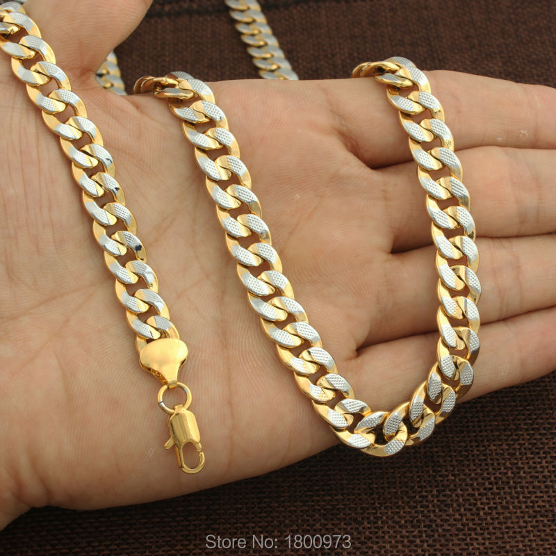 Gold Necklace Bracelet Set Gold Silver Plated 10MM 60cm 21cm Cuban Link  Chain Necklaces Bracelets Men Jewelry Set-in Bridal Jewelry Sets from  Jewelry ... 2c527a706b97