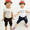 free shipping 2015 new 2-7 years kids clothes 1set 100% cotton summer boys clothing sets baby boy clothes
