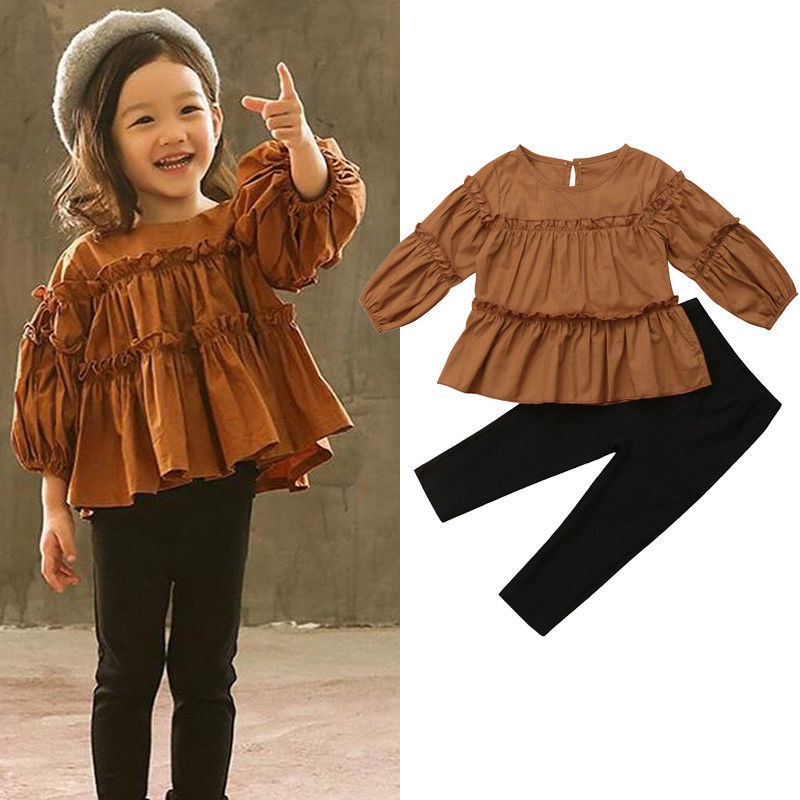 2018 Latest Children's Wear Toddler Infant Girls Kids Soft Cotton Pleated T-shirt Blouse+Skinny Legging Pants Outfits Set 1-6Y fuchsia pleated design v neck flared sleeves blouse