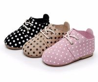 High Quality Lace Up Hard Sole Genuine Leather Handmade Baby Shoes Polka Dot Toddler Maccasins Shoes
