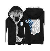 Anime Attack On Titan Hoodie Unisex Black Thickeness Sweatshirt Hoodie Coat Cosplay