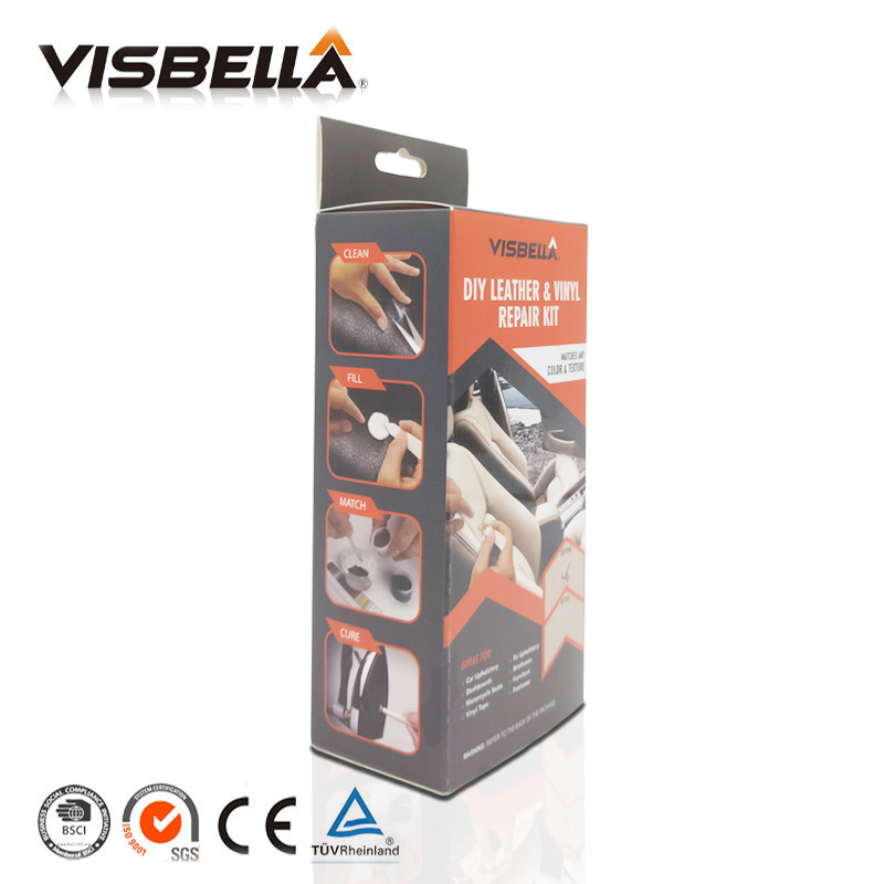 VISBELLA Leather Vinyl Repair Hand Tool Sets Kit Glue Paste for Car Auto Care Seat Clothing Leather Rips Fix Crack with Cloth