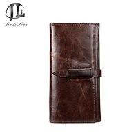 Brand Vintage Oil Wax Genuine Cowhide Leather Men Leisure Day Clutch Bag Belt Hasp Zipper Card