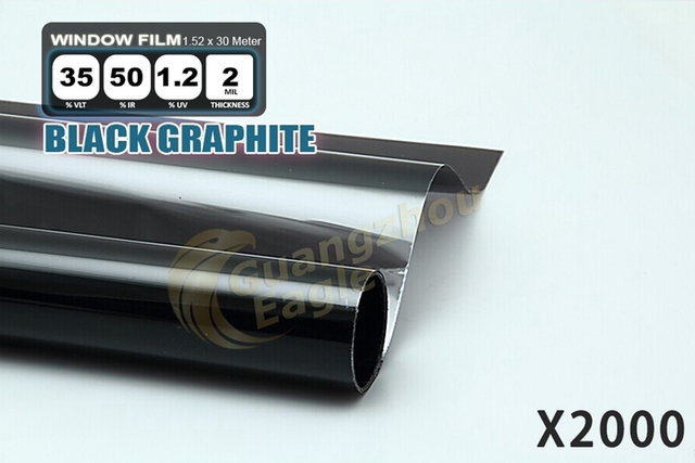1.52*30m High-performance PET Car Solar Window Tint Film window Foil Free Shipping /Black Graphite/X-2000