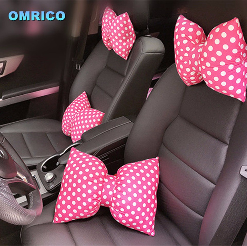 Fashionable Bowknot Car Headrest Neck Pillow Seat Back Support Cushion Waist Pillow for Decorative Women Girls Auto