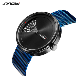 Image 3 - SINOBI Mens Fashion Uhren Original Design Kreative Armbanduhr Edelstahl Mesh Armband Herren Business Watch Relogio Masculino