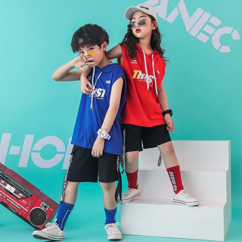 Kids Hip Hop Clothing Hoodie Vest Sweatshirt Shirt Tops Casual Shorts For Girls Boys Dance Costume Wear Ballroom Dancing Clothes