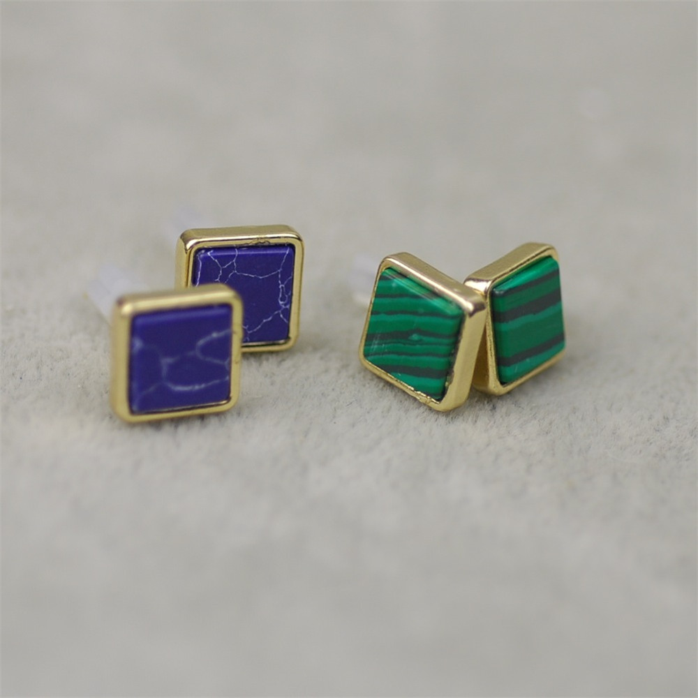 Fashion Woman Natural Stone Stud Earrings 4 Color Square Triangle Contracted Whole S In From Jewelry Accessories