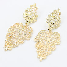 Elegant Gold Silver Hollow Earrings For Women Bohemia Drop Earring Big Leaf Dangle Charm Statement Jewelry Accessory Pendientes(China)