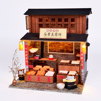 Chinese style DIY cabin antique building villa shop model wooden hand assembled attic material creative gifts