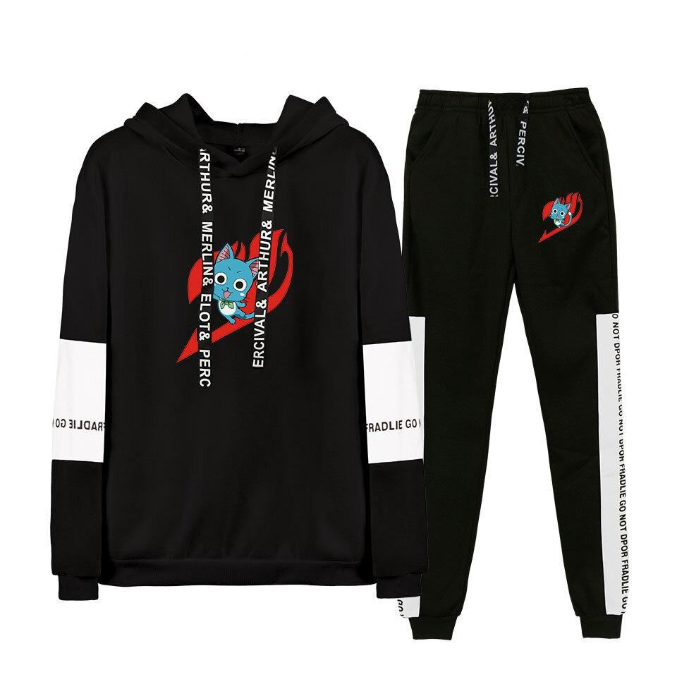 Fairy Tail Hoodie Pants Set Men Women Plus Size Pullover Anime Hooded Sweatshirt Harajuku Elastic Trousers Casual Clothing