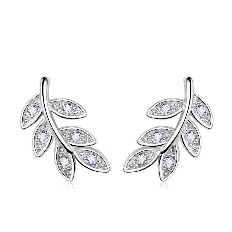 New Simple Fashion 925 Sterling Silver Leaf Olive Branch Stud Earrings Prevent Allergy Brincos Piercing Ear Jewelry