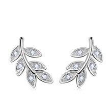 New Simple Fashion 925 Sterling Silver Leaf Olive Branch Stu