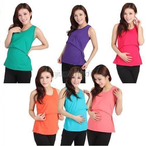 Summer Maternity Clothes Nursing Tops Breastfeeding Vest Top Nursing T-Shirt