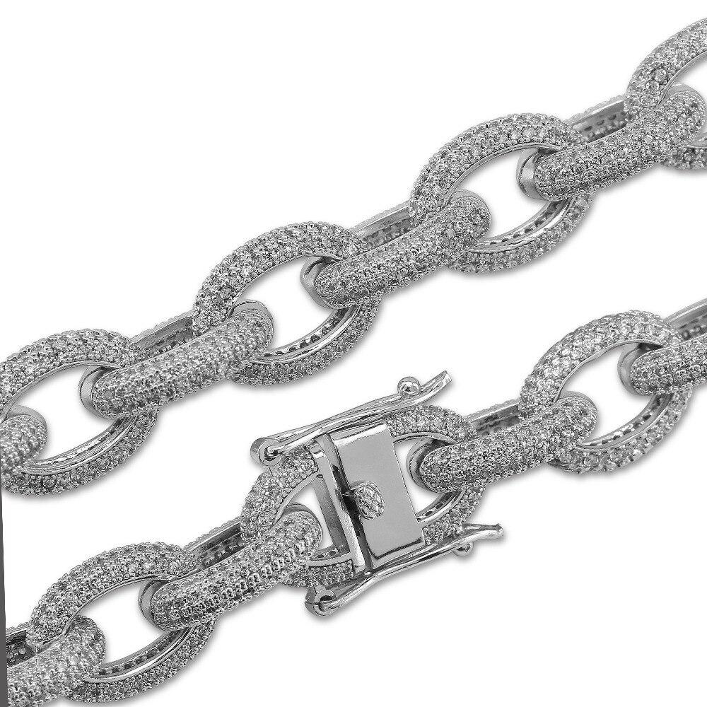 Bracelet de lien de charme des hommes 12mm personnalisé Bling glacé zircon cubique Hip Hop or/argent/or Rose Bracelets de couleur 7