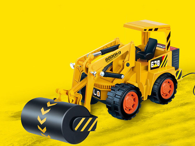 1:10 Engineering roller,Iron wheel vehicles, roller,4 Channels cable remote control vehicle,Electric cars toys,