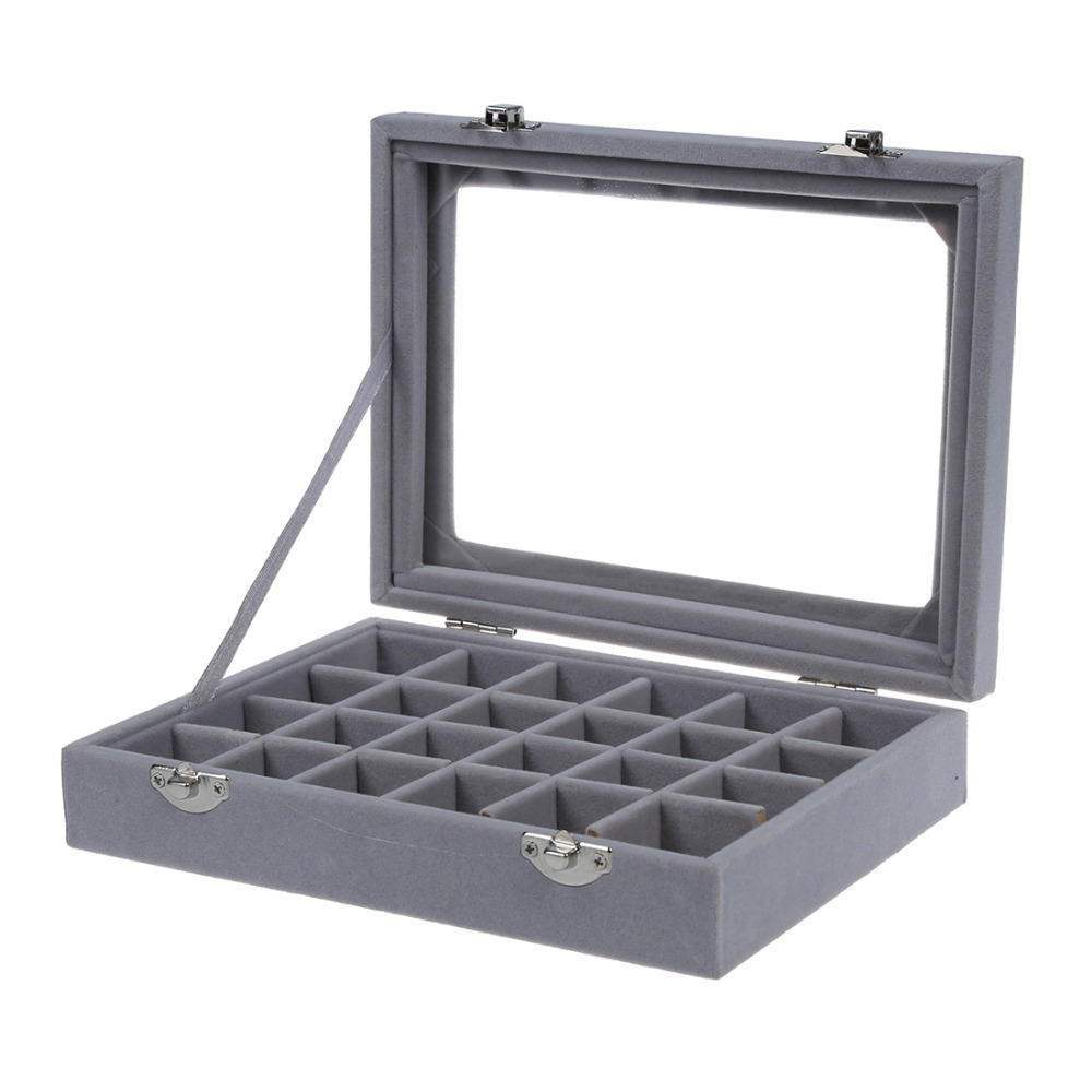 24 Grid Velvet With Glass Carrying Cases Jewelry Tools Box For Jewelry Organizer Storage Bracelet Watch Pillow Buckle