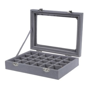 24 Grid Velvet With Glass Carrying Cases Jewelry Tools Box For Jewelry Organizer Storage Bracelet Watch Pillow Buckle(China)