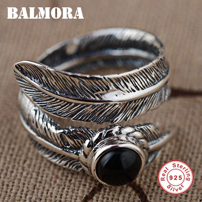BALMORA 100% Real 925 Sterling Silver Feather Open Rings for Women Men Party Gifts Thai Silver Ring Jewelry Bijoux SY20910