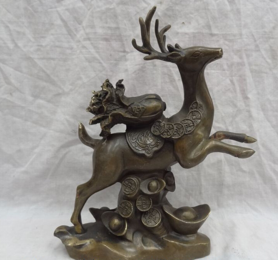 """11"""" China Bronze Copper Animals Cai Cabbage YuanBao Coin Up Running Deer Statue