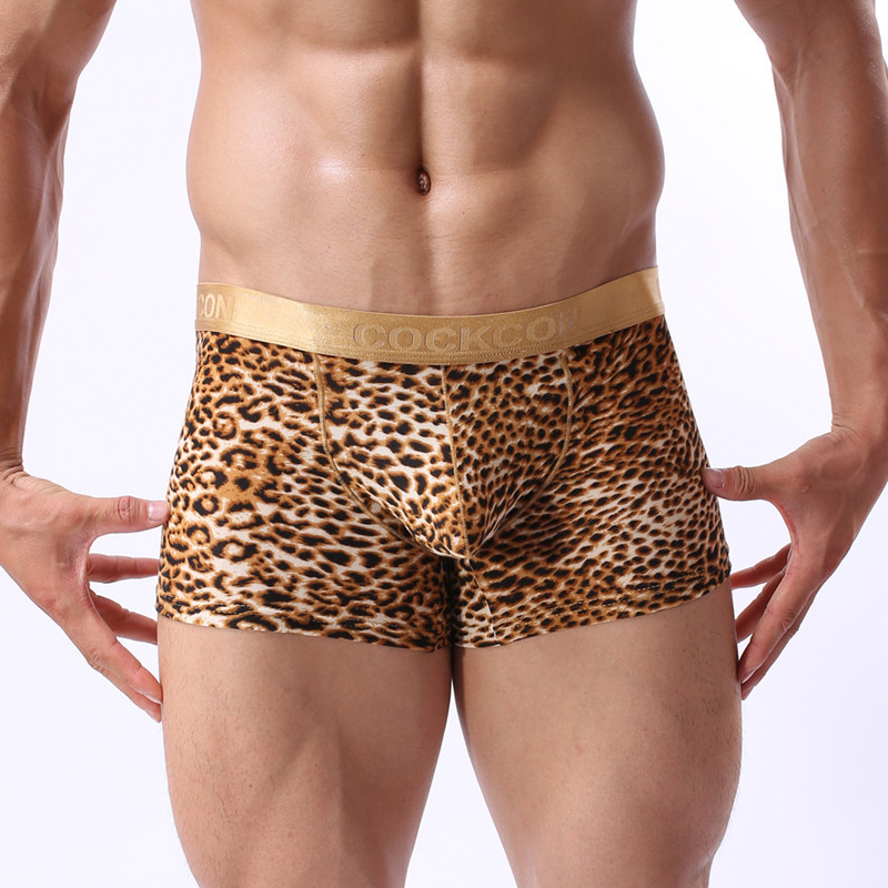 High quality men boxers shorts Cheap Mens novelty leopard print underwear Brand sexy fashion boxer underpant