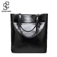 SEVEN SKIN 2017 New High Quality Solid Leather Women Bag Large Bucket Shoulder Bags Big Handbag
