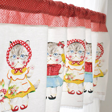 Japanese cute cat series cotton Japanese curtain home decoration kitchen coffee half curtain short curtain