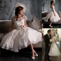 Vintage Style Short Sleeve Flower Lace Chiffon Tea Length Short Wedding Dress Bridal Gown Custom Size 4 6 8 10 12 14 16 Sexy