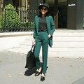 Llegó El nuevo Juego de Las Mujeres 2016 Moda Delgado Oficina de Negocios OL de color Verde oscuro de la Chaqueta Conjunto Chaqueta + Pantalones Traje Formal Feminino femenino