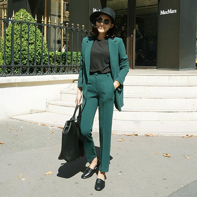 New Chegou Mulheres Terno 2016 Moda Slim Escritório de Negócios OL Jaqueta Verde escuro Conjunto Formal Blazer + Calça Terno Feminino feminino