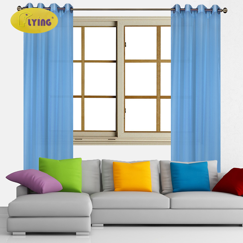 Flying Blue Tulle Curtains Living Room Bedroom Door Solid
