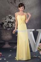 free shipping 2018 new design hot sale long beading sweetheart gowns custom made size/color chiffon yellow bridesmaid dress