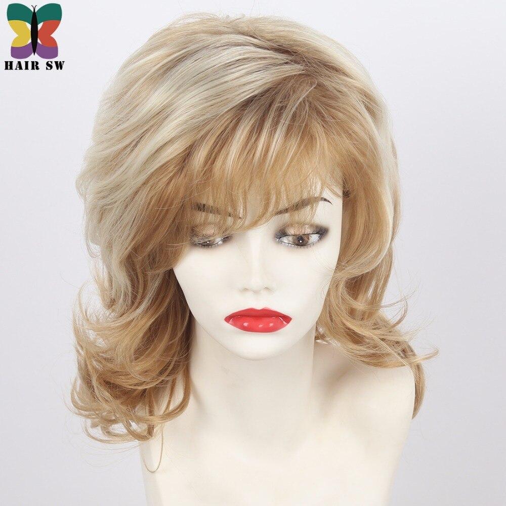 Kvinnors Medium Längd Shag Fluffy Curly Synthetic Wig Light Röd - Syntetiskt hår - Foto 5
