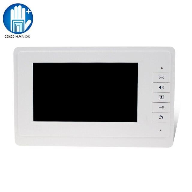 """7 """"TFT LCD kolorowy ekran wideo dzwonek do drzwi domofon monitor wewnętrzny z 25 dzwonkiem do domu apartament bezpieczny V70F"""