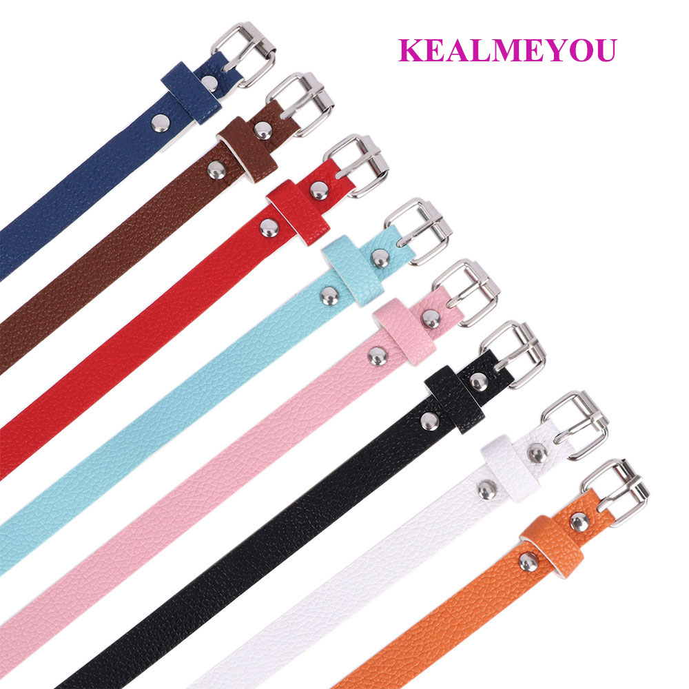 Women Girls Solid Candy Color Skinny Dress Belt Thin Leather Narrow Waistband US
