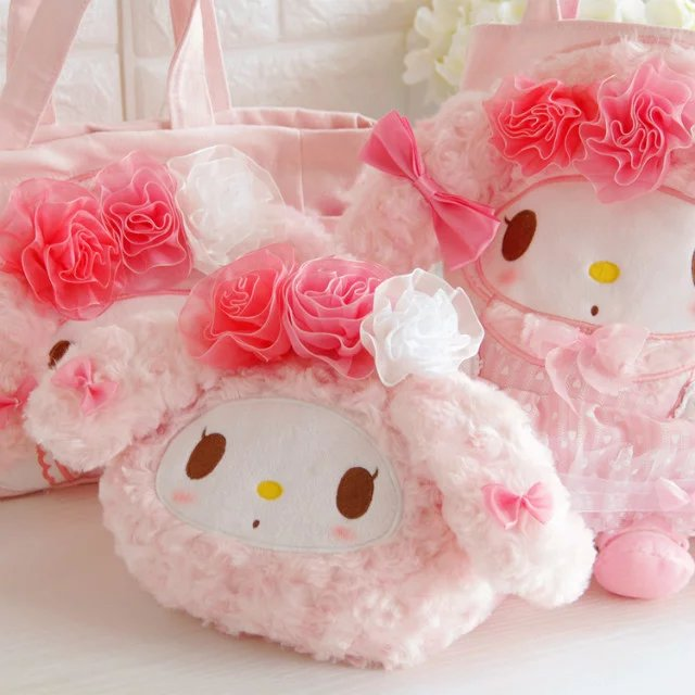 Candice Guo! Super Cute Plush Toy Sweet Flower Pink My Melody Handbag Storage Bag Girls Creative Birthday Christmas Gift 1pc