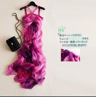 New Summer Beach Dress 100%Silk Women Flowing Rose Long dress Elegant Natural Fabric High Quality Hot Selling Free Shipping
