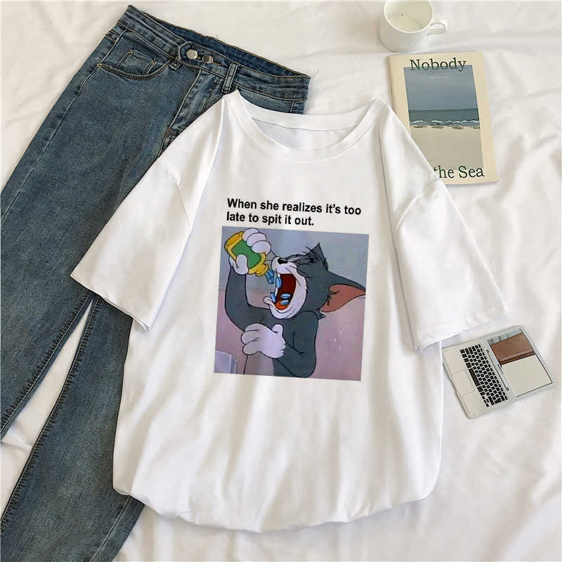 Cat Tom Mouse Jerry New Ulzzang S-XXL Loose Casual Short Sleeve cute Female Cartoon Print Summer Tops tees Harajuku T-Shirt