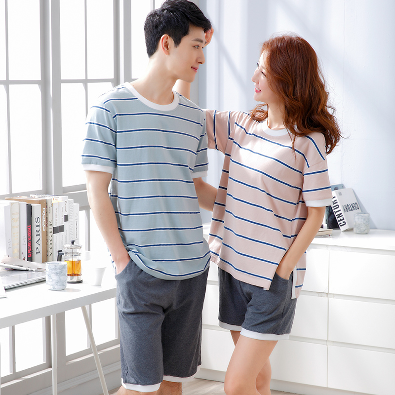 Cotton Short Sleeve O-Neck Pajama For Men Spring Summer Men Pajamas Set Women Tracksuit Couple Striped Sleepwear Homewear M-XXL