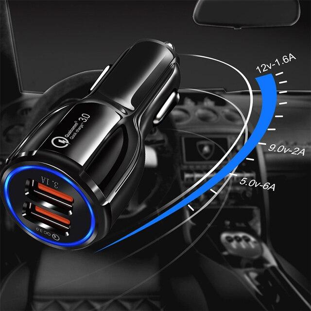 Chargeur USB de voiture Charge rapide 3.0 2.0 chargeurs de téléphone portable 2 ports USB pour Iphone Xs Huawei P30 Samsung S10 câble dans le chargement de voiture