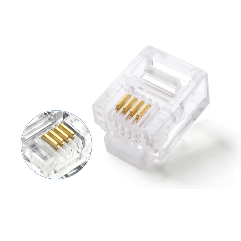 50pcs 6P4C 4 Pins 4 Contacts RJ11 Telephone Modular Plug Jack,RJ11 Connector