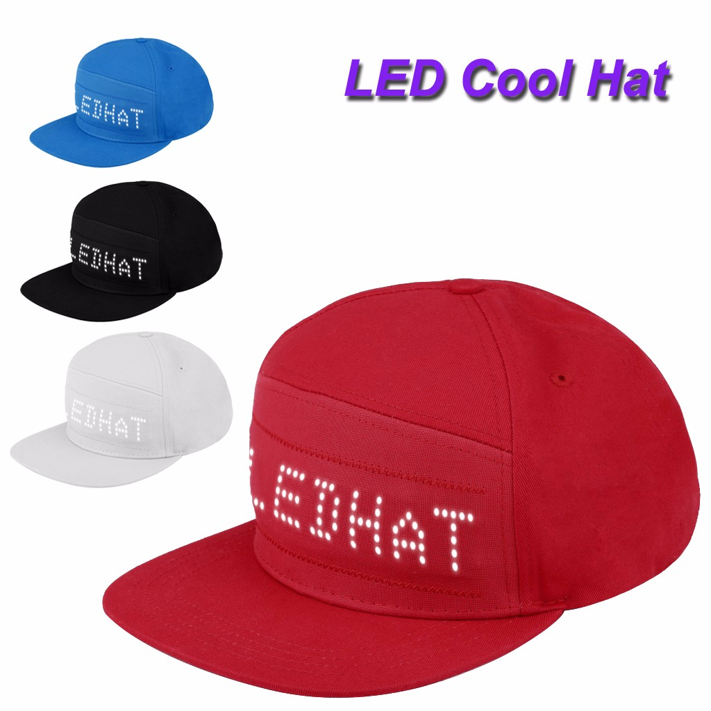 Cool Bluetooth Animated Led Message Sign Cap Snapback Baseball Running Hat Hiphop Hats Fashion Men Adjustable Caps #YL5