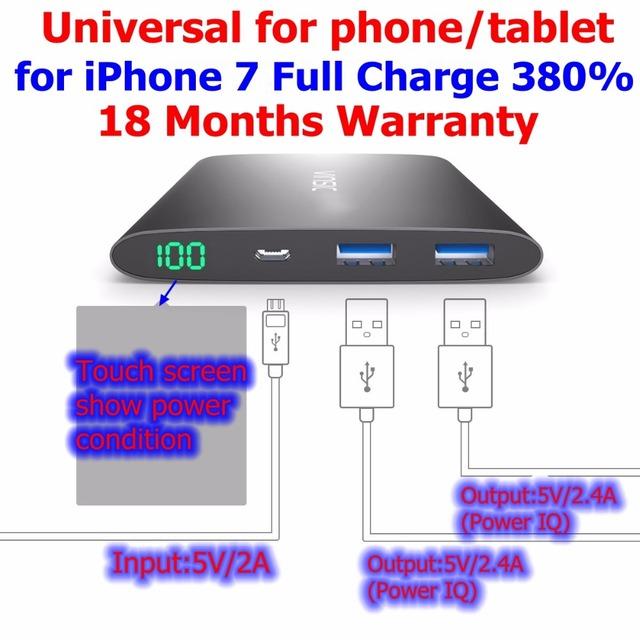 Vinsic 12000 mah powerbank banco de la energía 12000 mah inteligente iq ultra delgado gris 5 v 2.4a para iphone 6 cargo 430% universal
