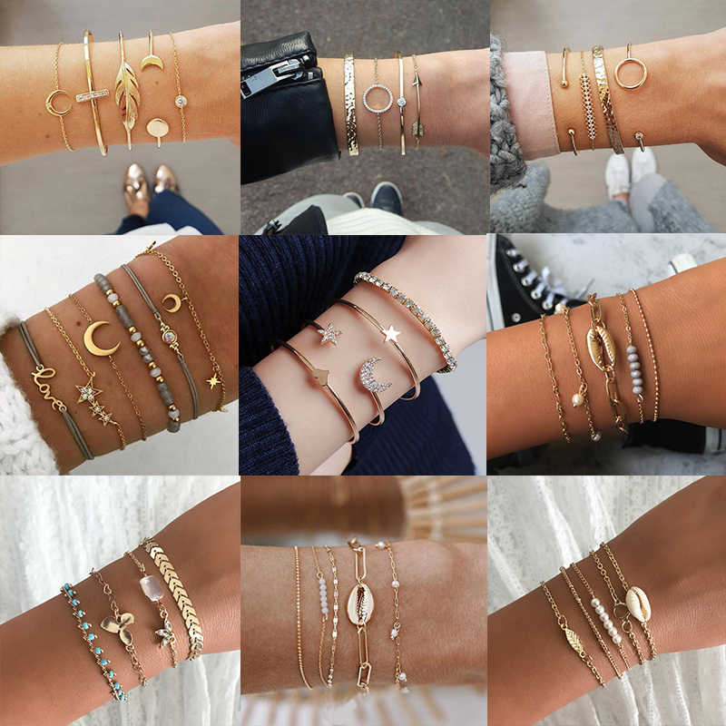 Bracelet Mix Lotus Shell Turtle Heart Wave LOVE Crystal Marble Stone Bracelets for Women Boho Tassel Bracelet Jewelry Wholesale