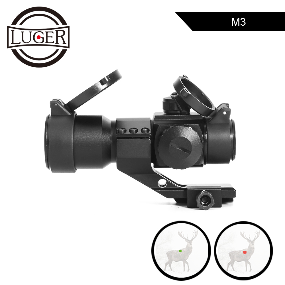 LUGER M3 Tactical Optical Sight Scope Holographic Red Green Dot Reticle Collimator Sight Hunting Riflescope For Airsoft Air GunLUGER M3 Tactical Optical Sight Scope Holographic Red Green Dot Reticle Collimator Sight Hunting Riflescope For Airsoft Air Gun