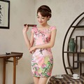 New Fashion Sexy Traditional Chinese Clothing Retro Women  Short Cheongsams Short Sleeve Qipao