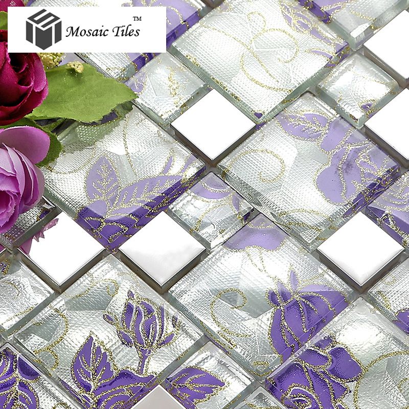 11 Sheets Lot Purple Glass Mosaic Tile Backsplash