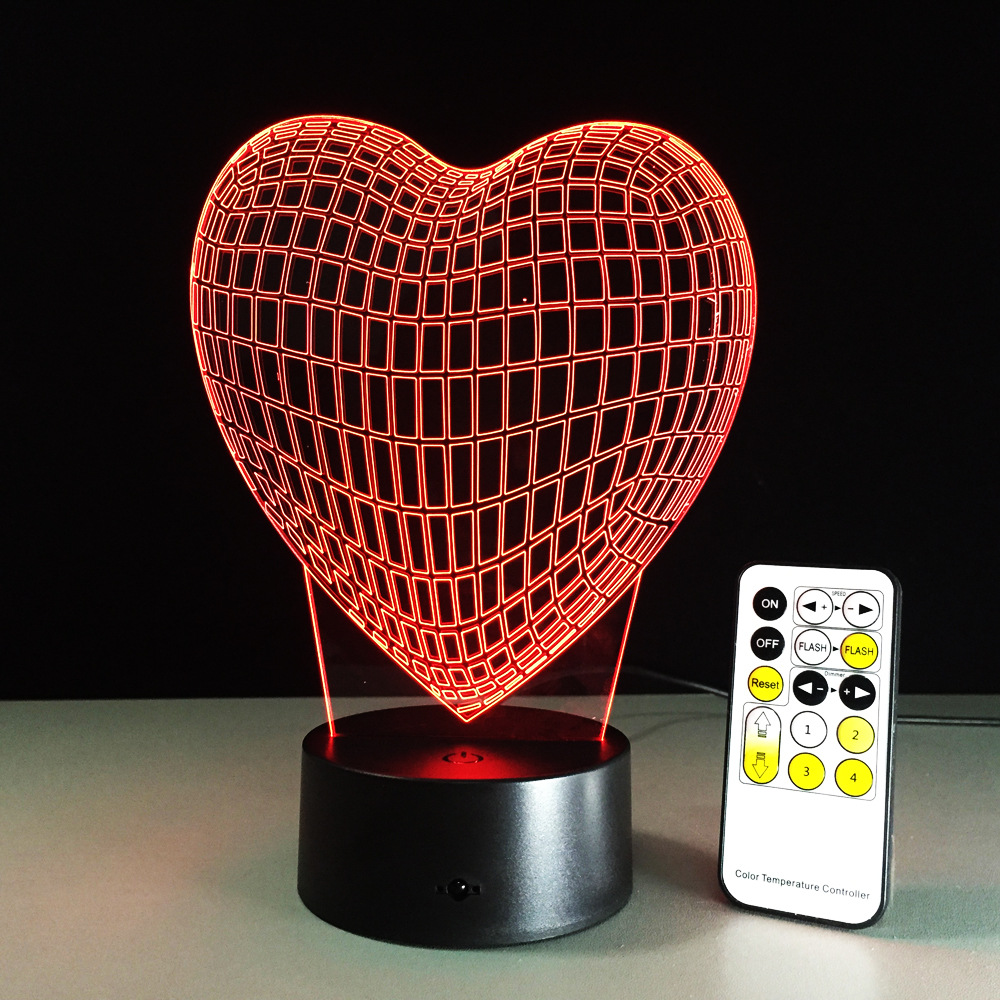 Heart 3D Stereo Illusion Lamp Acrylic Love Table Night Remote USB or Touch Switch 7 Color Change Living Room Decorative Lamp