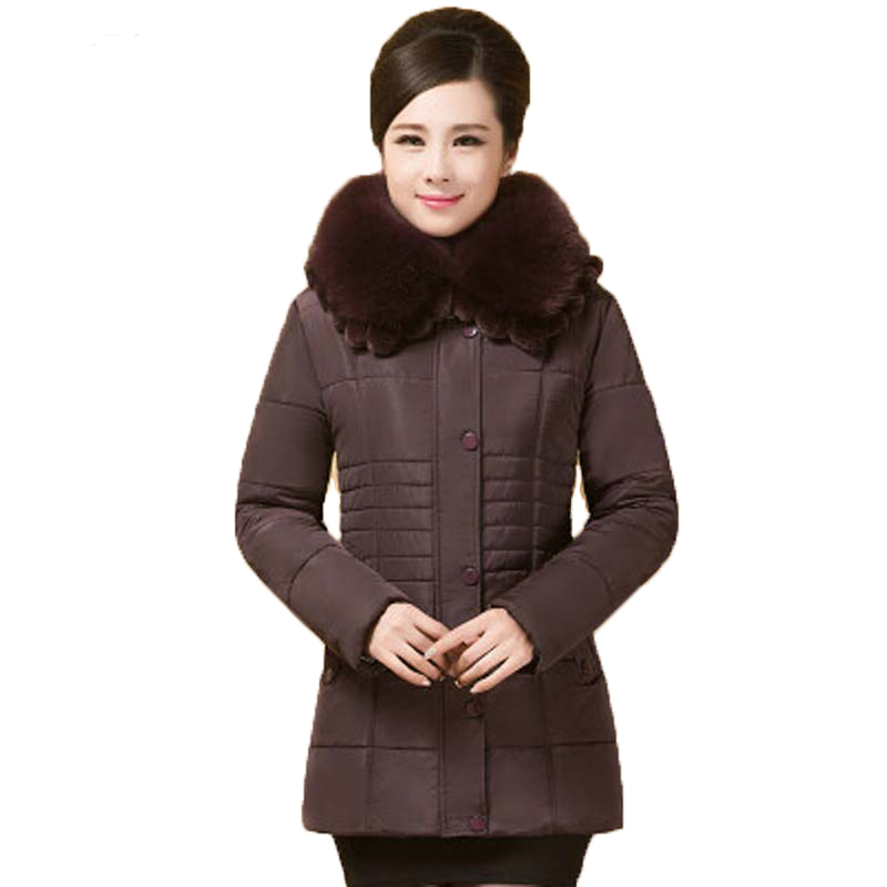 New 2016 winter warm fur collar Thicken Long down cotton jacket women middle aged slim hooded