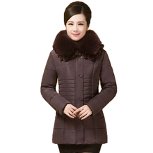 Новый 2016 зима теплая меховой воротник сгущать вниз куртка женщин среднего возраста тонкий с капюшоном Большой размер 6XL хлопок пальто AE603